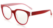 Bifocal Reading Glasses Women Stylish Bifocal Readers Clear Lens - Red BR9110