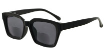 Bifocal Sunglasses for Women Reading under the Sun Stylish Bifocal Readers Tinted Lens Oversize - Black/Grey lens SBR9106