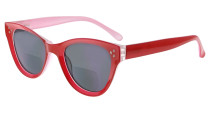 Bifocal Sunglasses for Women Reading under the Sun Stylish Bifocal Readers Tinted Lens Oversize - Red/Grey lens SBR9106