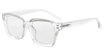 Bifocal Reading Glasses Women Stylish Bifocal Readers Clear Lens Oversize - Transparent BR9106