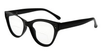 Bifocal Reading Glasses Women Stylish Bifocal Readers Clear Lens Oversize Cat-eye Style - Black BR9108