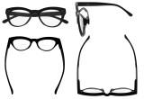 Bifocal Reading Glasses Women Stylish Bifocal Readers Clear Lens Oversize Cat-eye Style - Black BR9108