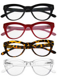 4-packing Bifocal Reading Glasses Women Stylish Bifocal Readers Clear Lens Oversize Cat-eye Style BR9108