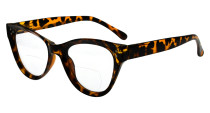 Bifocal Reading Glasses Women Stylish Bifocal Readers Clear Lens Oversize Cat-eye Style - Tortoise BR9108