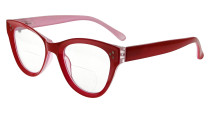 Bifocal Reading Glasses Women Stylish Bifocal Readers Clear Lens Oversize Cat-eye Style - Red BR9108