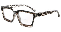 Bifocal Reading Glasses Women - Stylish Bifocal Readers Clear Lens Oversize Frame - Grey/Tortoise BR2003
