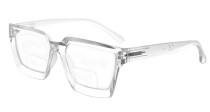 Bifocal Reading Glasses Women - Stylish Bifocal Readers Clear Lens Oversize Frame - Transparent BR2003