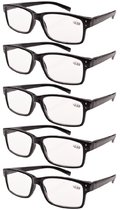 Reading Glasses Custom Strength Spring Hings 5-Pack Diopters for Men Women R032