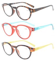 Reading Glasses Oval frame for Women 3 Pairs Mix Color 3PKR091