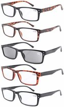 Reading Glasses 5-pack Retro Rectangle Frame with Spring Hinges Include Sunshine Readers R057-5 pairs mix