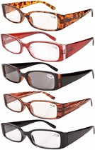 Reading Glasses Rectangular Frame Includes Sunshine Readers Women 5-pack R040-5 pairs mix
