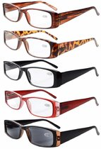 5 Pack Reading Glasses Rectangular Frame with Spring Hinges Sunshine Readers R006-Mix