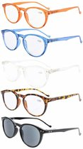 Reading Glasses 5 Pack Quality Spring Hinges Oval Round Includes Sunshine Readers R071-Mix