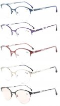 5-Pack Spring Hinges Half-Rim Cat-eye Style Reading Glasses Included Computer Glasses R1648-Mix-5pcs