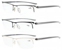 Reading Glasses 3-Pack Half-rim Lightweight Quality Metal Frame Readers Women Men R15615-Mix