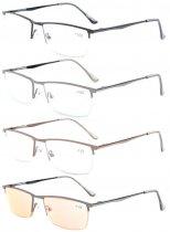 Reading Glasses 4-Pack Quality Metal Half-Rim Design with Rectangle Lens Include Computer Readers R1614-4pcs-Mix