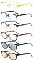 Reading Glasses 6-pack Quality Spring Hinges Vintage Gradient Color Frame Readers Women Men R068-6pc-Mix
