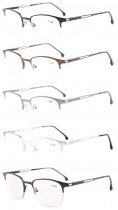 5-Pack Quality Spring Hinges Half-Rim Reading Glasses Included Computer Glasses R1645-Mix-5pcs