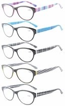 Reading Glasses 5-Pack Quality Spring Hinges Retro Cat-eye Frame for Women R074S-5pc-Mix