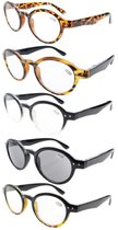 Reading Glasses 5 Pairs Mix Spring Hinges Round Retro Include Sunshine Readers Men R070-Mix