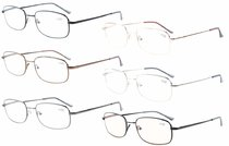 6-Pack Bridge-flex Memory Titanium Reading Glasses Included Computer Glasses R1644-Mix-6pcs