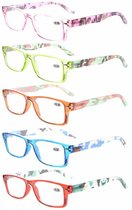 Reading Glasses 5-Pack Camouflage Pattern Arms with Quality Spring Hinges Women R066C-5pc-Mix