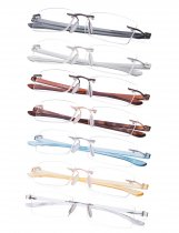 Reading Glasses Rimless Readers 7 Pairs Mix Color R14001-7pc-Mix