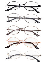 5-Pack Titanium Memory Oval Reading Glasses R1643-Mix-5pcs