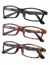 Reading Glasses 3-Pack Classic Rectangle Design Frame Reader R103
