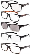 Eyekepper 5-pack Spring Hinges Vintage Reading Glasses Men Includes Sun Readers +4.00