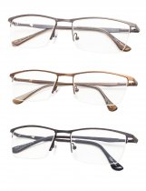 Reading Glasses 3-Pack Quality Metal Half-Rim Design with Rectangle Lens R1614