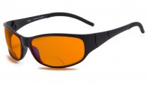 Blue Blocking Amber Bifocal Glasses for Sleep - Nighttime Readers - Special Orange Tinted Glasses Black SGS080