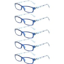 Reading Glasses 5 Pairs Fashion Ladies Readers Spring Hinge with Pattern Print Eyeglasses for Women Blue