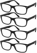 Reading Glasses Set of 4 Black Quality Readers Spring Hinge Glasses for Reading for Men and Women