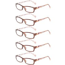 Reading Glasses 5 Pairs Fashion Ladies Readers Spring Hinge with Pattern Print Eyeglasses for Women Brown