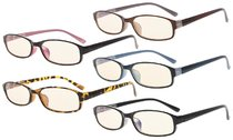 Computer Reading Glasses 5-Pack UV Protection Tinted Lens Quality Spring Hinge for Women CG908K