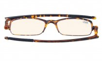 Computer Reading Glasses UV Protection TR-90 Titanium Foldable Temples Amber Tinted Lens Tortoise CG200