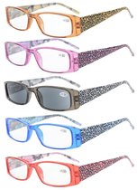 Reading Glasses tiger patterned rectangular Design with Spring Hinges 5-Pack Inclue Sunshine Readers R006A-Mix