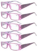 Reading Glasses tiger patterned rectangular Design with Spring Hinges 5-Pack Readers Women Purple R006A