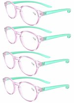 Reading Glasses 4-Pack Quality Color Long Arms Around the Neck Colors Purple-Green Frame