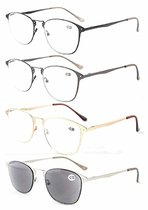 Reading Glasses Optically Correct 4-Pack Retro Large Frame Sunshine Readerss Women Men PTR15039-Mix
