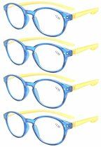 Reading Glasses 4-Pack Quality Color Long Arms Around the Neck Colors Blue-Yellow Frame
