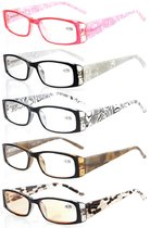 Reading Glasses 5-Pack Gem Pattern Temples with Quality Spring Hinges Include Computer Glasses R006-C1-C5-Mix