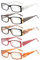 Reading Glasses 5-Pack Marble Pattern with Quality Spring Hinges Include Computer Glasses R006-C6-C10-Mix