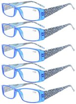 Reading Glasses tiger patterned rectangular Design with Spring Hinges 5-Pack Readers Women Blue R006A