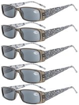 Reading Glasses tiger patterned rectangular Design with Spring Hinges 5-Pack Readers Women Grey Lens R006A