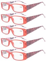 Reading Glasses tiger patterned rectangular Design with Spring Hinges 5-Pack Readers Women Red R006A