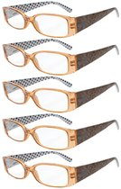 Reading Glasses Quality Spring Hinges Arms with Polka Dots Patterned Readers for Women Brown R040P-5pc