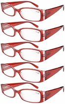 Reading Glasses 5-Pack Classic Design Frame with Quality Spring Hinges Readers Red R040-5pcs