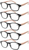 Reading Glasses 5-pack Bamboo Pattern Temples with Quality Spring Hinges Readers Black R034-5pcs